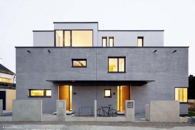 Doppelhaus in metallischem Glanz